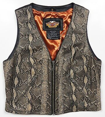 HARLEY DAVIDSON MOTORCYCLES WOMEN'S MEDIUM BIKER VEST 100% LEATHER SNAKE PYTHON