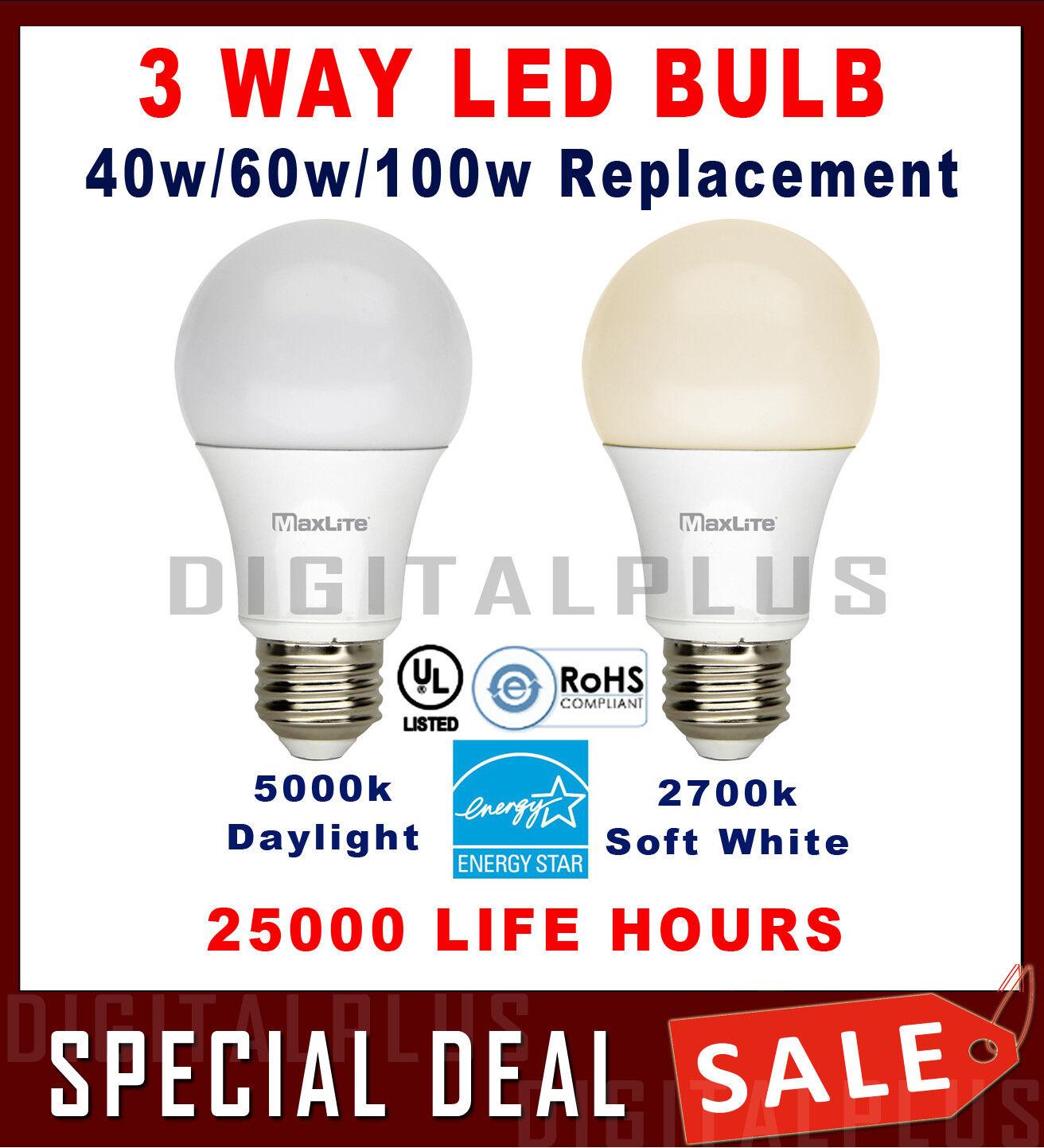 3 Way LED Bulb 40w 60w 100w Replacement 4/8/14W Daylight 500