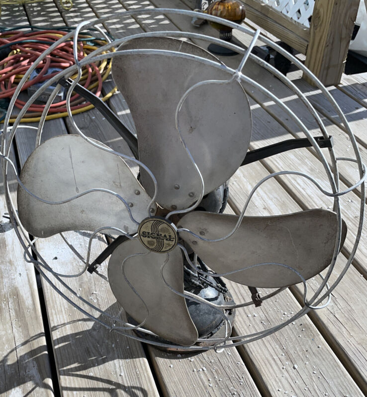 "Large Vintage Signal 16"" Steel 4 Blade Fan Oscillating Need Rewiring Untested"