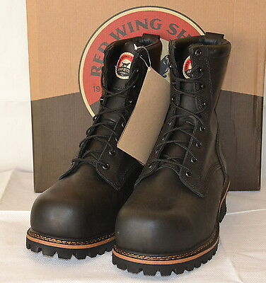 Red Wing Shoes Irish Setter Boots Black Leather UK8 Safety Toe Logger US8.5D