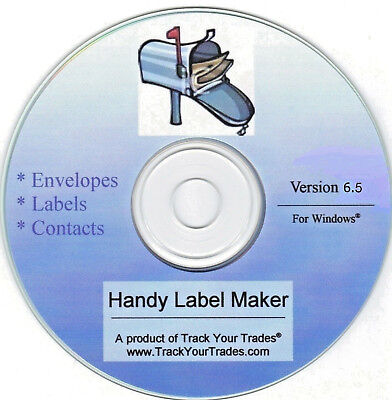 Software program prints mailing address on labels/envelope. Windows PC or laptop