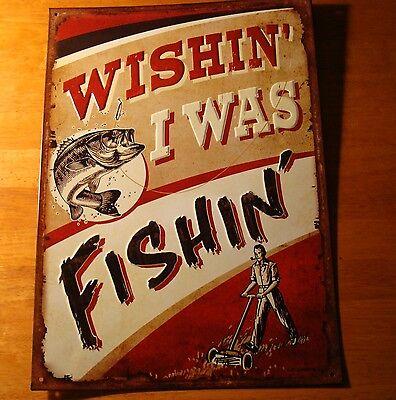 Wishing I Was Fishing Rustic Bass Fisherman Cabin Wall Sign Home Decor New