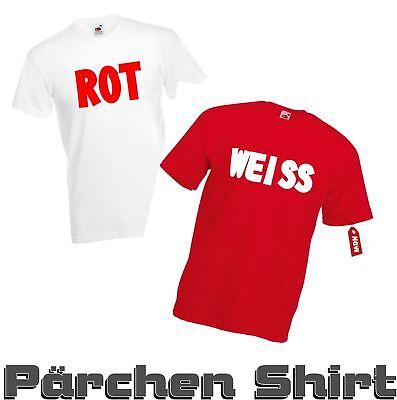 Pärchen Shirt Ketchup ROT / WEISS Karneval Fasching Gruppenkostüm Shirt -TOP- ()