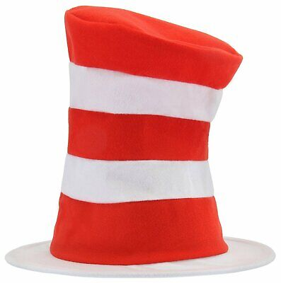 CAT IN THE HAT Dr Seuss Child Costume Top Hat Kids Red White Striped LICENSED