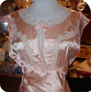 vintage 1920s art deco peach flapper goddess gown lingerie dress rayon size 16 ebay. Black Bedroom Furniture Sets. Home Design Ideas