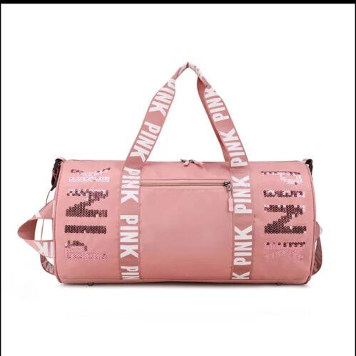 New! Pink Sequins Gym bag/Duffle/Travel/weekender/overnight bag/tote,waterproof