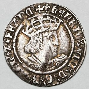 1526 - 1544 KING HENRY VIII GREAT BRITAIN SILVER GROAT COIN