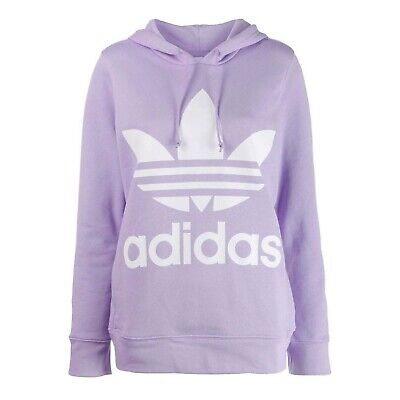 Adidas Womens Trefoil Hoodie Graphic Sweatshirt Purple DV2566