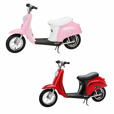 Razor Pocket Mod Miniature Euro 24 Volt Electric Retro Scooters, 1 Red & 1 Pink