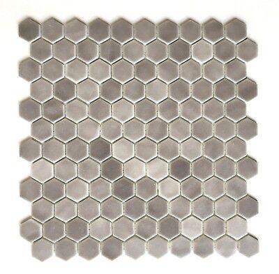 """1"""" Daltile Hexagon Matte Frost Moka Glass Mosaic Tile Backsplash Kitchen Bath"""