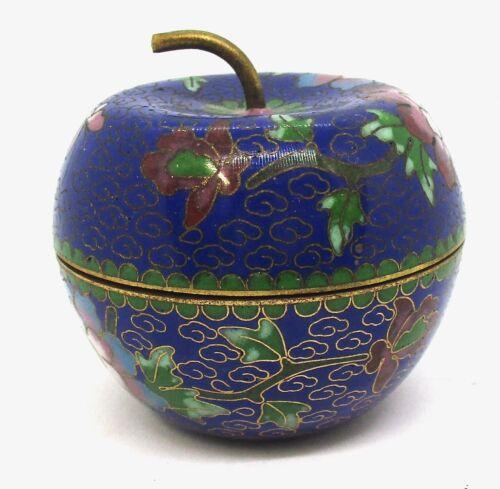 Cool Vintage Cloisonné Apple Trinket Box Flowers Enamel Cloisonne Beijing China