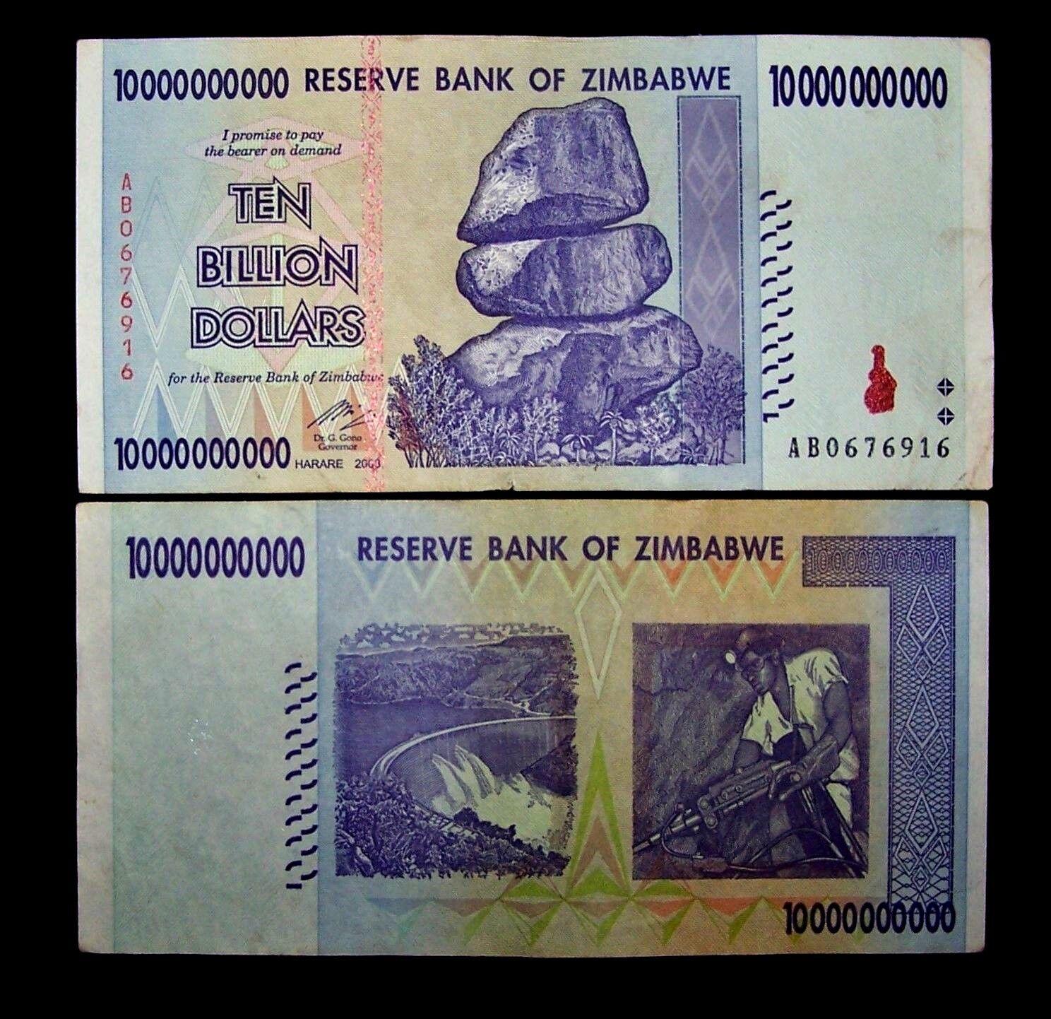 1 x Zimbabwe 10 Billion Dollar banknote -paper money currency