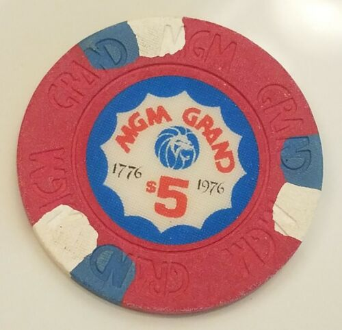 BICENTENNIAL MGM Grand casino $5.00 casino chip. Las Vegas