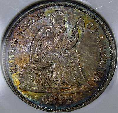 1877 Seated Liberty Dime NGC Gem BU MS-64... 100% Original with Amazing Color!!!