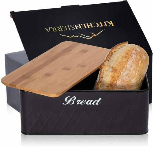 Bread Box for Kitchen Countertop- Black Metal Bread Box w/ Bamboo Chopping Board