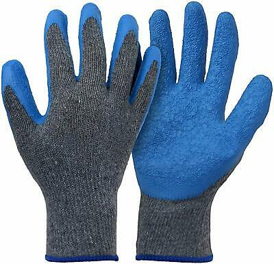 12-pairs Knit Work Gloves Cotton Textured Rubber Latex Coated For Construction