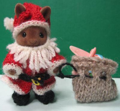 Santa Knitting Pattern for Sylvanian Families miniature dolls Father Christmas