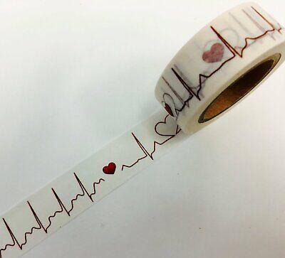 Heartbeat Love Heart Nurse Washi Tape Papercraft Valentine's Day Planner Supply  (Valentines Supplies)