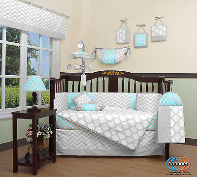 Baby Glacier Blue & Gray Chevron 13 Piece Nursery CRIB BEDDING SET