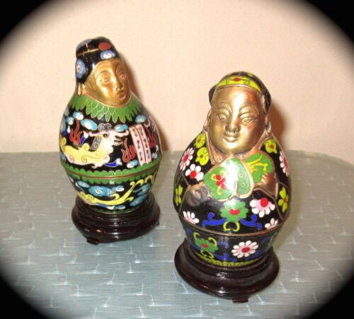 Rare Vtg PAIR CHINESE CLOISONNÉ FIGURAL BOXs on STANDs:  NOBEL MAN + LADY-  EUC