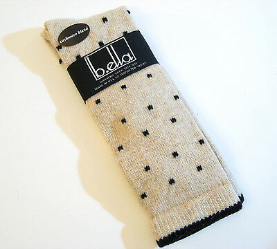 - b.ella Ladies Wool Cashmere Angora Blend Crew Socks Kitty Oatmeal / Black - NEW