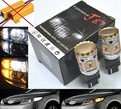 Canbus Error Free LED Light Switchback Amber White Two Bulb 3157 Turn Signal DRL