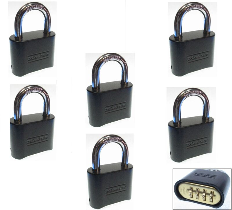 Combination Lock Set by Master 178BLK (Lot of 6) Resettable Brass Insert Black