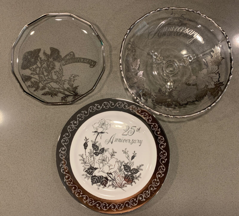 Lot Of 3 Vintage 25th Wedding Anniversary Plates/footed bowl Silver Accents Rare