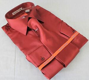 Mens-Satin-Shiny-Burgundy-Dress-Shirt-With-Tie-Hanky-Karl-Knox-Convertible-Cuff