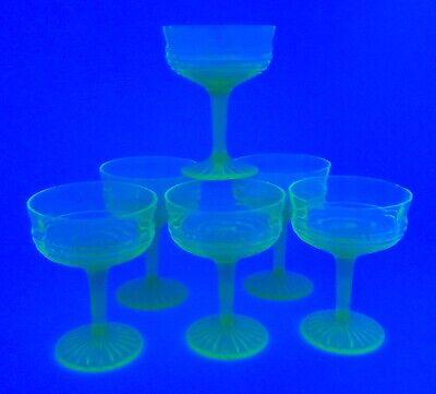 Depression Glass Champagne Greenglow Uranium Stemmed Optic Glass Set Of Six