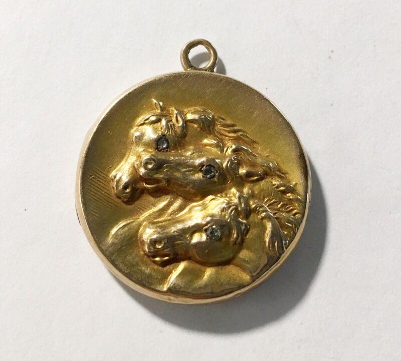 Antique Art Nouveau 10k Locket, Three Horse Heads, Diamond Eyes