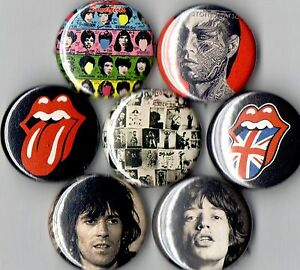 Rolling-Stones-7-pins-buttons-badges-tongue-exile-mick-jagger-keith-richards