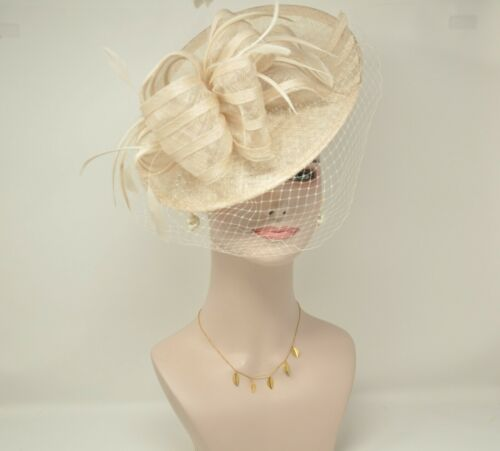 2020 Disc Fascinator Hat with Feathers and Netting Champagne For derby Church