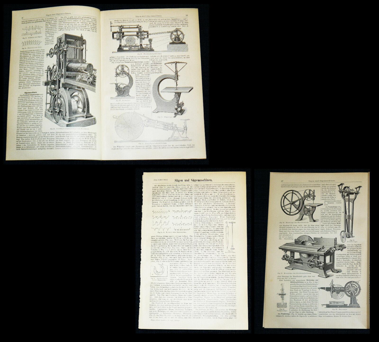 SÄGEN & SÄGEMASCHINEN Gattersäge Wippsäge Bandsäge Kreissäge – Drucke Text 1897