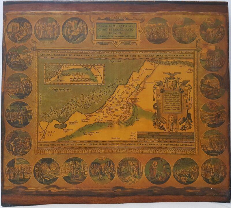 Antique Map Abraham Ortelius Holy Land 1586 - Abraham Patriarch Journey Vintage