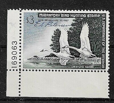 U.S. 1966 Scott RW33 - 3.00 Whistling Swans P S - Used - Signed - See Scan - $10.00