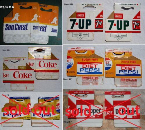 Choose 2 Soda Bottle Cartons COKE, DIET PEPSI, 7-UP, Sun Crest