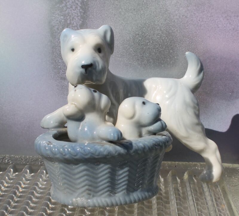 Vintage Blue Schnauzer Dog & Puppies in Basket, Made in Japan