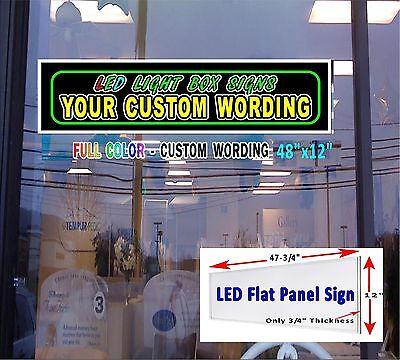 Led Flat Panel Sign 12x48 Your Custom Wording Design Vertical Or Horizontal