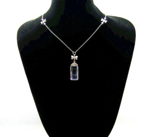 VINTAGE JEWELLERY AMETHYST GLASS MARCASITE LAVAILIER NECKLACE & EARRINGS