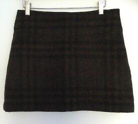 a245e6d67a46 Womens Burberry Skirt Brown Wool Mini Pencil Skirt Checked Flannel Uk 6 XS