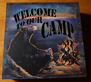 WELCOME TO OUR CAMP Black Bear Campfire LIGHTED CABIN SIGN Lodge Home Decor NEW