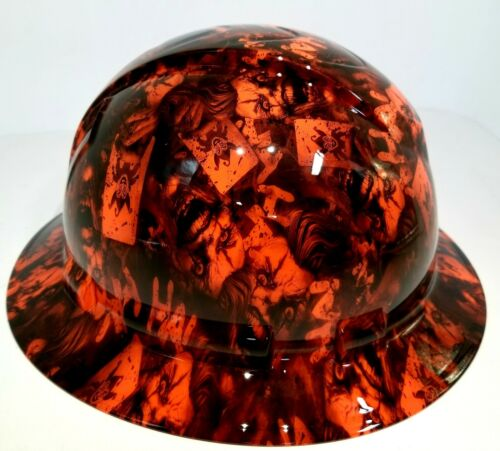 FULL BRIM Hard Hat custom hydro dipped, NEW OUTRAGEOUS ORANGE JOKER HA HA 1