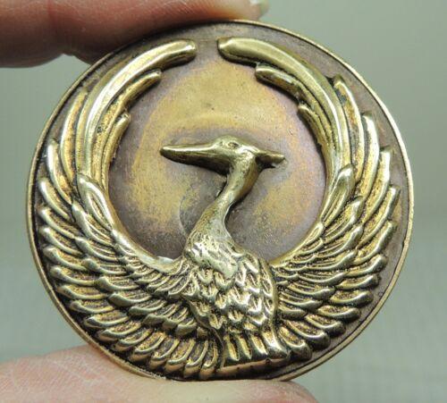 BRASS PICTURE BUTTON ~ PHOENIX BIRD    METAL