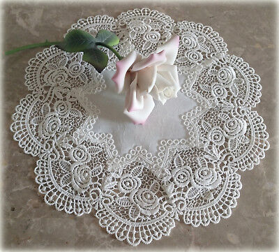 "Classic Rose Lace Doily European Round 12"" Table Topper Antique White"