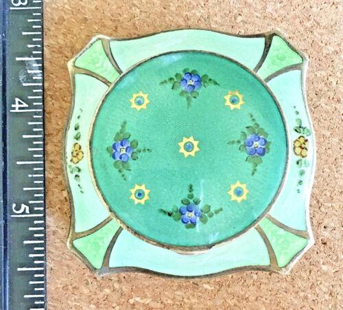 Vintage Green Guilloche Enamel Floral Compact