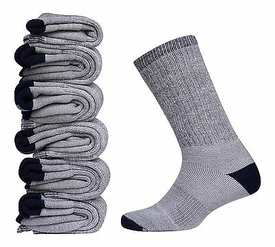Men's Merino Wool Sock 6 Pair Gray Warm Thermal Sport Dress Hiking Camp Sz 8-12