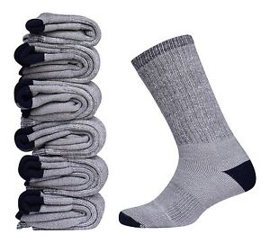 Mens-Merino-Wool-Sock-6-Pair-Gray-Warm-Thermal-Sport-Dress-Hiking-Camp-Sz-10-13
