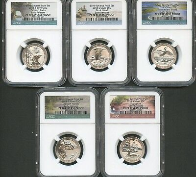 2018 S Silver Quarter Set (5 Pieces) REVERSE PROOF EARLY RELEASES NGC PF70