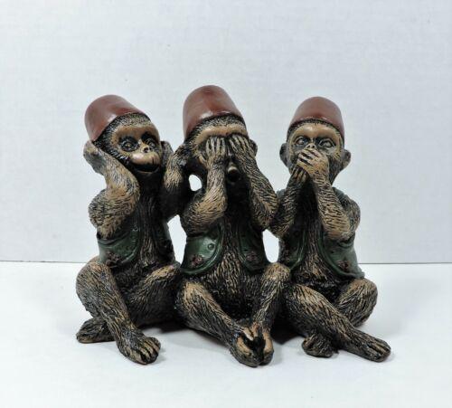 Monkeys Wearing Fez Hats Hear See Speak No Evil Statue VTG